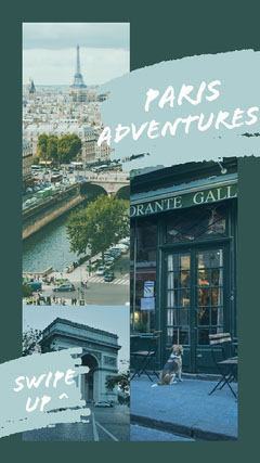 Blue, Light Toned, Paris Travel Ad, Instagram Story City