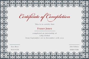 Grey and White Internship Certificate Internship Certificate