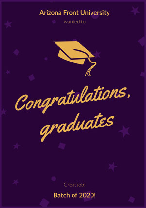 Purple and Orange Graduation Announcement Card with Mortarboard Biglietto di congratulazioni