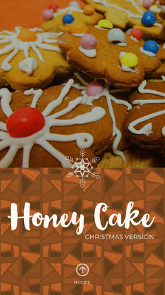 Brown Christmas Honey Cake Recipe Instagram Story with Picture of Gingerbread Cookies Cakes
