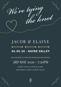 navy heart wedding invite  Heart