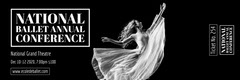 Black and White Ballerina Ballet Conference Ticket Event Ticket