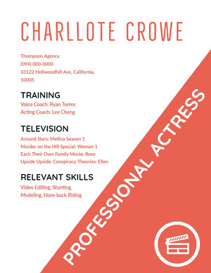 Pink and White Actress Resume Acting Resume