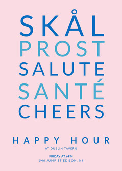 Pink and Blue Happy Hour Invitation Drink