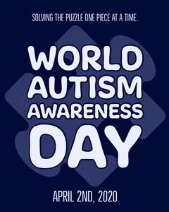 Blue Jigsaw Piece Typography World Autism Awareness Instagram Portrait  Awareness