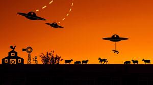 Black and Orange Alien Invasion Zoom Background  Wallpaper
