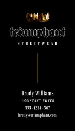 Black with Gold Crown 'Triumphant Street Wear' business card Gold