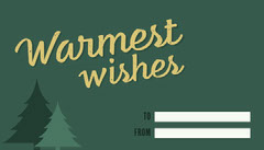 Yellow and Green Warmest Wishes Gift Tag Christmas