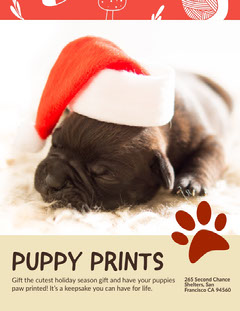 Red and White Cute Puppy Prints Ad Poster Pets