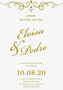 white with gold embellishments wedding cards Cartão de felicitações aos noivos
