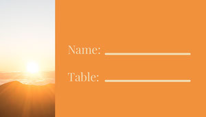 Orange and Sunset View Empty Place Card Baptism Place Card
