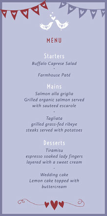 Blue Love Birds Wedding Menu Menu bruiloft