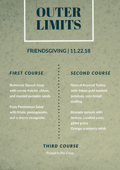 card Thanksgiving Menu