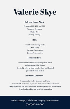 Navy Blue and White Professional Resume Educational Course