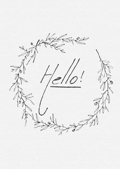 Black and White Decorative Wreath Hello Card  Hello