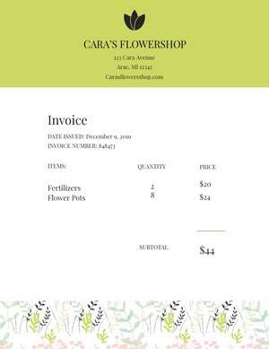 White and Green Flower Shop Invoice Faktura