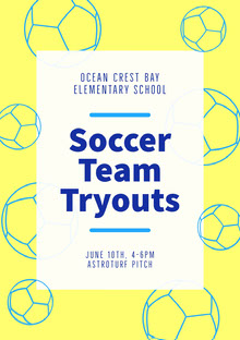 Yellow and Blue Balls Elementary School Soccer Team Tryouts Flyer School Posters
