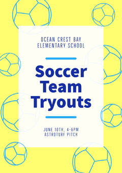Yellow and Blue Balls Elementary School Soccer Team Tryouts Flyer Soccer