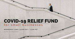Small Business COVID-19 Relief Fund Webinar Facebook Event Cover Seminar Flyer