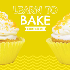 Yellow Cupcakes Learn to Bake Instagram Square Pattern Design