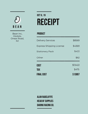 Blue Store Business Invoice 청구서