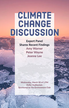 Climate Change Discussion Event Flyer with Icebergs at Sunset Climate Change Posters