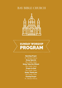 White and Brown Sunday Worship Program Flyer Sunday