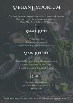 Black and White Vegan Restaurant Menu Brunch
