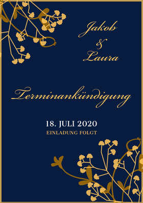 blue and gold save the date wedding invitations  Terminankündigung