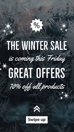 Blue and White Winter Sale Instagram Story Winter