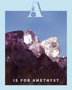 Blue Alphabet Letter A Flashcard with Amethyst Blue