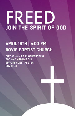 Purple and Gray Baptist Church Flyer with Cross Sunday