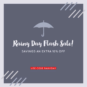 Blue Rainy Day Flash Sale Store Ad with Umbrella Graphic and Coupon Code Kupong