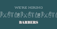 White and Blue Barber Announcement Now Hiring Flyer
