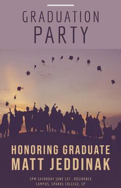 Black and Violet Graduation Party Poster Promotion
