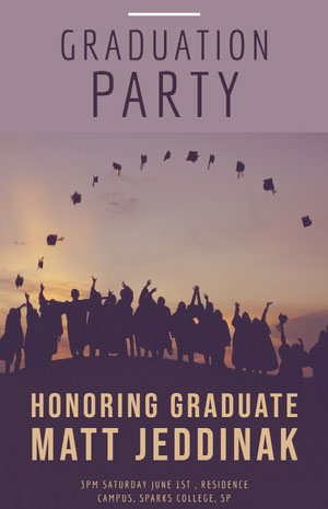 Black and Violet Graduation Party Poster Graduation Poster