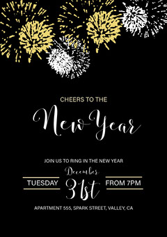 New Years Eve Party Invite Fireworks