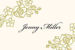 Gold Elegant Calligraphy Floral Name Tag 네임택