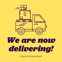 Yellow & Purple Delivery Service Instagram Square Service