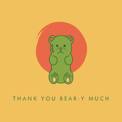 Orange and Green Thank You Pun Instagram Square with Teddy Bear  Thank You Poster
