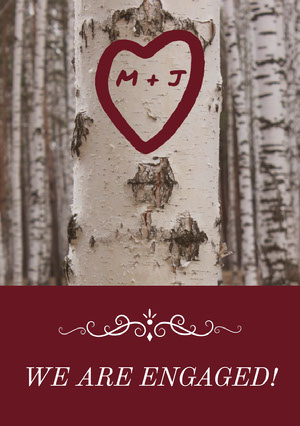 Engagement Announcement Card with Heart on Tree Kihlausilmoitus