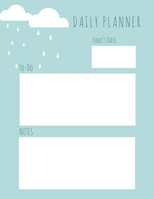 White and Blue Empty Daily Planner Card Agenda giornaliera