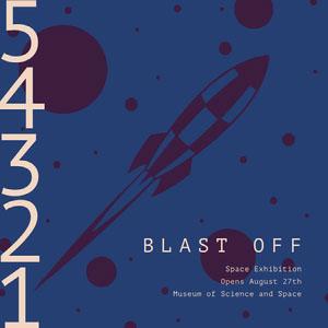 Blue Astronomy Museum Exhibition Instagram Square Ad Sinalização