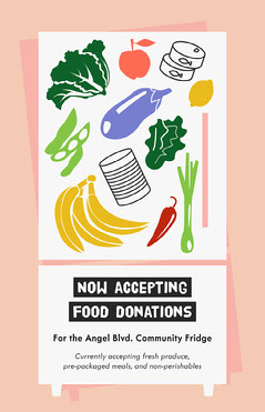 Colorful Community Fridge Call For Food Donations Poster Donations Flyer