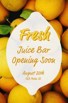 yellow lemons juice bar opening soon postcard Juice