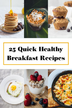 Quick and Healthy Breakfast Recipes Pinterest Graphic with Food Collage Breakfast