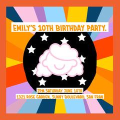 Orange Multicolor Emily's 10th Birthday Party Instagram Square  Kids