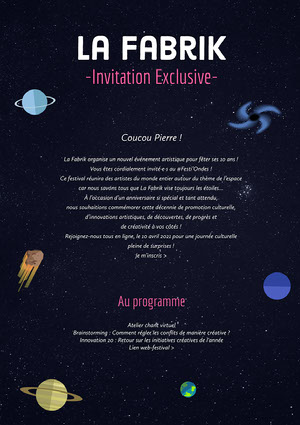 Pink and Black Space Theme Art Event Newsletter  Newsletter