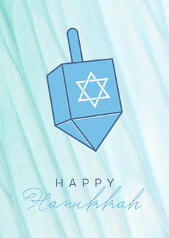 Blue Dreidel Hanukkah Card Winter