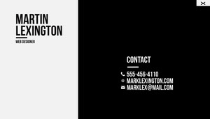 Black and White Simple Minimalist Web Designer Business Card Tarjeta de visita